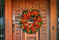 Carved Wooden Door Xmas Wreath