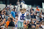 Dallas Cowboys mascot, Rowdy, in action during the pre-season game between the Denver Broncos and the Dallas Cowboys at the AT & T stadium in Arlington, Texas. Denver leads Dallas 10 to 3 at halftime.