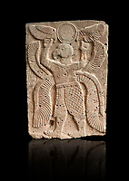 Pictures & images of the North Gate Hittite sculpture stele depicting a winged bird God. 8the century BC.  Karatepe Aslantas Open-Air Museum (Karatepe-Aslantaş Açık Hava Müzesi), Osmaniye Province, Turkey. Against black background