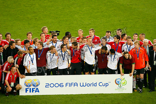 Jul 8, 2006; Stuttgart, GERMANY; Germany players and team staff pose for a team photo following their 3-1 win over Portugal for third place in the 2006 FIFA World Cup at Gottlieb-Daimler-Stadion, Stuttgart. Mandatory Credit: Ron Scheffler-US PRESSWIRE Copyright © Ron Scheffler.
