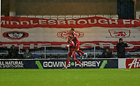 Britt Assombalonga of Middlesbrough and Marcus Tavernier of Middlesbrough celebrates during Queens Park Rangers vs Middlesbrough, Sky Bet EFL Championship Football at Loftus Road Stadium on 9th November 2019