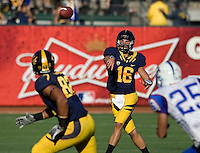 Allan Bridgford of California throws the ball to Richard Rodgers during the game against Presbyterian at AT&T Park in San Francisco on September 17th, 2011.  California defeated Presbyterian, 63-12.
