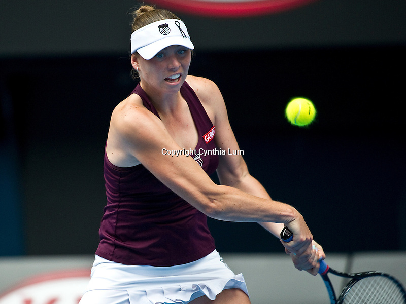 January 26, 2011.Vera Zvonareva of Russia, in action, defeating Petra Kvitova of Czech Republic in the quarter final of the Australian Open,Rod Laver Stadium, Melbourne Park, Melbourne, Australia.