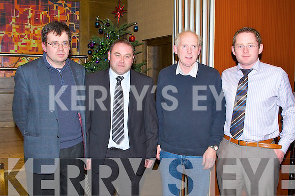 KERRY IFA: Tomas Burke  executive secretary on animal health for the IFA who was guest speaker at the Kerry IFA County Executive meeting at the Grand hotel, Tralee on Monday l-r: James McCarthy (chairman Kerry IFA), Tomas Burke (executive secretary on animal health IFA), John O'Sullivan (secretary Kerry IFA) and William Shortall (development officer Kerry IFA).