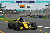 March 24, 2018: Nico Hulkenberg (DEU) #27 from the Renault Sport F1 team leaves the pit for his qualifying lap at the 2018 Australian Formula One Grand Prix at Albert Park, Melbourne, Australia. Photo Sydney Low