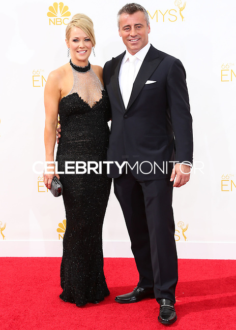LOS ANGELES, CA, USA - AUGUST 25: Actor Matt LeBlanc and Andrea Anders arrive at the 66th Annual Primetime Emmy Awards held at Nokia Theatre L.A. Live on August 25, 2014 in Los Angeles, California, United States. (Photo by Celebrity Monitor)