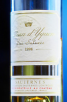 bottle of 1998 chateau d'yquem sauternes bordeaux france