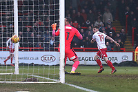 Danny Newton of Stevenage scores the first goal for his team during Stevenage vs Luton Town, Sky Bet EFL League 2 Football at the Lamex Stadium on 10th February 2018