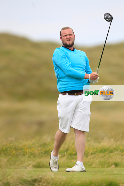 Cian Geraghty (Laytown &amp; Bettystown) on the 2nd tee during Matchplay Round 4 of the South of Ireland Amateur Open Championship at LaHinch Golf Club on Saturday 25th July 2015.<br /> Picture:  Golffile | TJ Caffrey