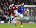 Anwar El Ghazi of Aston Villa and Jonny Evans of Leicester City during the Carabao Cup match at the King Power Stadium, Leicester. Picture date: 8th January 2020. Picture credit should read: Darren Staples/Sportimage