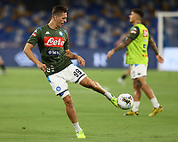 12th July 2020; Stadio San Paolo, Naples, Campania, Italy; Serie A Football, Napoli versus AC Milan; Arkadiusz Milik of Napoli during pre-game warm up