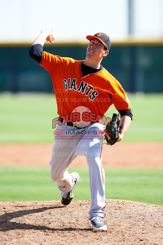 San Francisco Giants minor league pitcher Cameron McVey #47 during an instructional league game against the Colorado Rockies at the Salt River Flats Complex on October 4, 2012 in Scottsdale, Arizona.  (Mike Janes/Four Seam Images)
