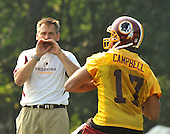 Ashburn, VA - July 20, 2008 -- Head Coach Jim Zorn, left, shouts instructions to quarterback Jason Campbell (17) during the first morning session of the 2008 Washington Redskins training camp at Redskins Park in Ashburn Virginia on Sunday, July 20, 2008..Credit: Ron Sachs / CNP