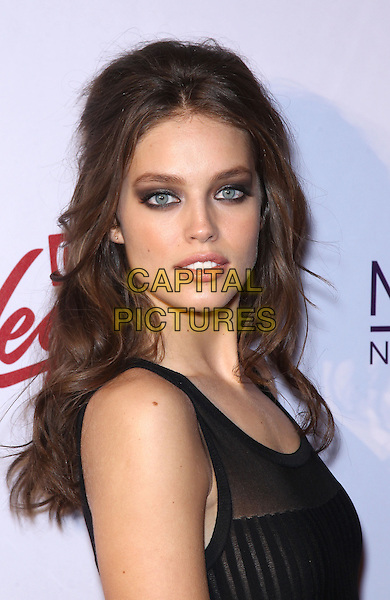"Emily Didonato.The 2013 Sports Illustrated Swimsuit models celebrate at the ""SI Swimsuit on Location"" event at Marquee Nightclub at The Cosmopolitan of Las Vegas, Las Vegas, NV., USA..February 13th, 2013.headshot portrait smokey eyes make-up eyeshadow beauty black sleeveless sheer.CAP/ADM/MJT.© MJT/AdMedia/Capital Pictures."