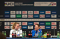Picture by Richard Blaxall/SWpix.com - 29/09/2018 - Cycling 2018 Road Cycling World Championships Innsbruck-Tirol, Austria - Women's Elite Road Race - Anna van der Breggen of the Netherlands winning Gold and Tatiana Guderzo of Italy winning Silver, Press Conference