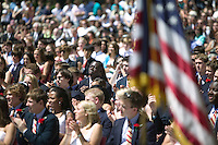 Eric Boateng (C) attends his final year Commencement ceremony at St Andrews High School in Middletown, DE, United States, 29 May 2005.