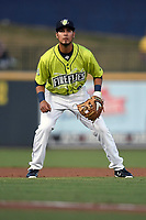 Third baseman Rigoberto Terrazas (9) of the Columbia Fireflies plays defense in a game against the Augusta GreenJackets on Friday, April 6, 2018, at Spirit Communications Park in Columbia, South Carolina. Columbia won, 7-2. (Tom Priddy/Four Seam Images)