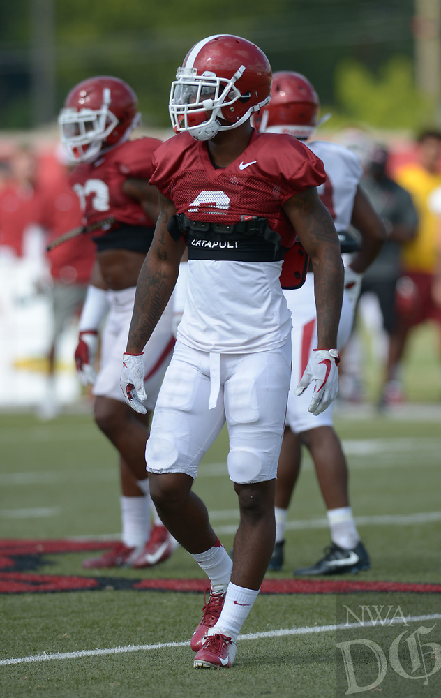 NWA Democrat-Gazette/ANDY SHUPE<br /> Arkansas defensive back Kamren Curl lines up in coverage Thursday, Aug. 9, 2018, during practice at the university's practice facility in Fayetteville. Visit nwadg.com/photos to see more photos from practice.