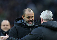 Newcastle United manager Steve Bruce shakes hands with Wolverhampton Wanderers manager Nuno <br /> <br /> Photographer Lee Parker/CameraSport<br /> <br /> The Premier League - Wolverhampton Wanderers v Newcastle United - Saturday 11th January 2020 - Molineux - Wolverhampton<br /> <br /> World Copyright © 2020 CameraSport. All rights reserved. 43 Linden Ave. Countesthorpe. Leicester. England. LE8 5PG - Tel: +44 (0) 116 277 4147 - admin@camerasport.com - www.camerasport.com