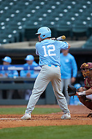 Josh Ladowski (12) of the North Carolina Tar Heels at bat against the Boston College Eagles in Game Five of the 2017 ACC Baseball Championship at Louisville Slugger Field on May 25, 2017 in Louisville, Kentucky. The Tar Heels defeated the Eagles 10-0 in a game called after 7 innings by the Mercy Rule. (Brian Westerholt/Four Seam Images)