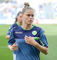 20160526 - REGGIO EMILIA , ITALY : Wolfsburg's Ewa Pajor pictured during warming up of a womensoccer match between the teams of  VFL Wolfsburg Frauen and Olympique Lyon , during the final of the Uefa Women Champions League 2015 - 2016 in Stadio citta del tricolore Stadium , Reggio Nell Emilia - Italy , Thursday 26 May 2016 . PHOTO SPORTPIX.BE / DAVID CATRY