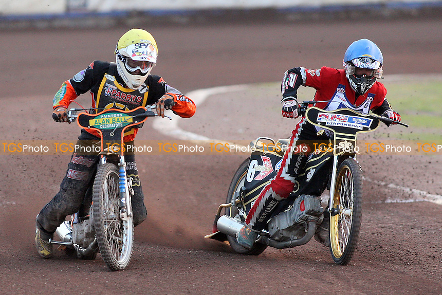 Heat 8: L Lindgren (yellow) and Lyons - Lakeside Hammers vs Wolverhampton Wolves - Sky Sports Elite League Speedway at Arena Essex Raceway, Purfleet - 24/05/10 - MANDATORY CREDIT: Gavin Ellis/TGSPHOTO - Self billing applies where appropriate - Tel: 0845 094 6026