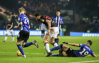 Bolton Wanderers' Yanic Wildschut goes to ground in the penalty area under pressure from Sheffield Wednesday's Marco Matias <br /> <br /> Photographer Andrew Kearns/CameraSport<br /> <br /> The EFL Sky Bet Championship - Sheffield Wednesday v Bolton Wanderers - Tuesday 27th November 2018 - Hillsborough - Sheffield<br /> <br /> World Copyright © 2018 CameraSport. All rights reserved. 43 Linden Ave. Countesthorpe. Leicester. England. LE8 5PG - Tel: +44 (0) 116 277 4147 - admin@camerasport.com - www.camerasport.com
