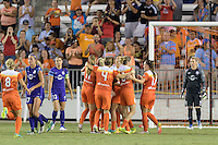 Houston, TX - Saturday Sept. 03, 2016: Janine Beckie, Rebecca Moros, Morgan Brian, Andressa Machry during a regular season National Women's Soccer League (NWSL) match between the Houston Dash and the Orlando Pride at BBVA Compass Stadium.