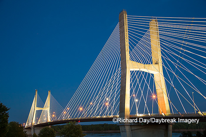 65095-02418 Bill Emerson Memorial Bridge at dusk-night over Mississippi River Cape Girardeau, MO