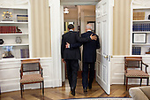 President Barack Obama and Vice President Joe Biden head towards the Oval Office Private Dining Room for lunch, May 4, 2011. .Mandatory Credit: Pete Souza - White House via CNP