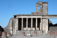Basilica, Pompeii, 2nd century BC. Located on the South West side of the Forum it is one of the oldest remaining examples of a Roman Basilica. The Podium, where the Judge probably sat, is fronted by 6 Ionic columns