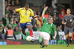 29 May 2008: Juan Carlos Escobar (COL) (19) dribbles away from the challenge of Glenn Whelan (IRL) (4). The Republic of Ireland Men's National Team defeated the Colombia Men's National Team 1-0 at Craven Cottage in London, England in an international friendly soccer match.