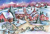 Interlitho, CHRISTMAS LANDSCAPE, paintings+++++,pink houses,KL5968,#xl# Landschaften, Weihnachten, paisajes, Navidad, illustrations, pinturas