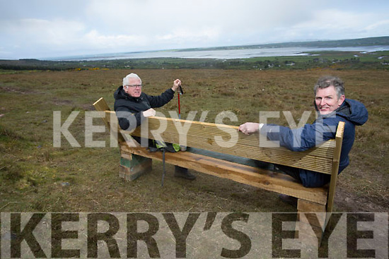 Kieran 'Kerry Lewis, London and John Early, Mayo enjoying the view of Tralee Bay at the new bench  in Tonevane, Blennerville ahead of Kerry Camino this weekend