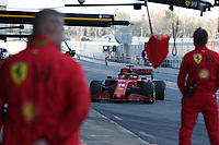 28th February 2020; Circuit De Barcelona Catalunya, Barcelona, Catalonia, Spain; Formula 1 Pre season Testing Week Two, Day 3; Mechanics wait for Scuderia Ferrari, Charles Leclerc to pit