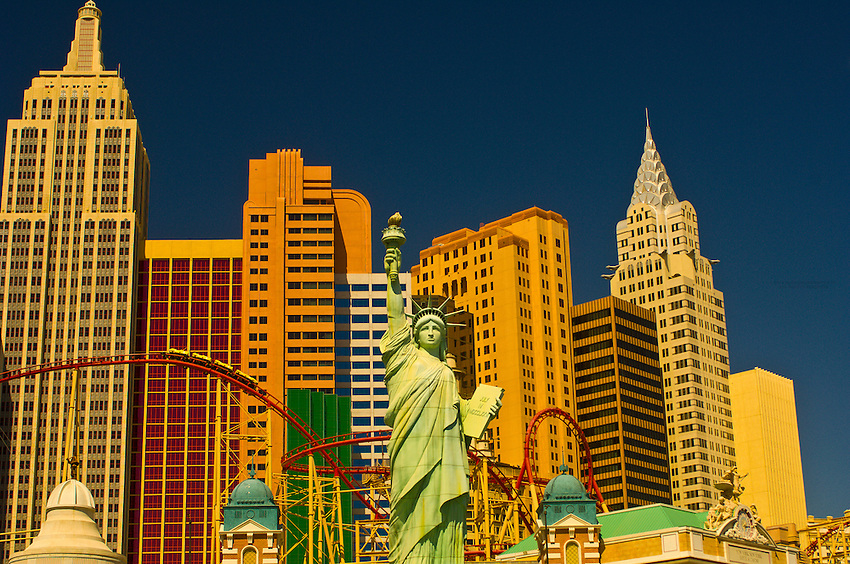 Manhattan Express rollercoaster and the New York New York Las Vegas hotel, The Strip, Las Vegas, Nevada USA