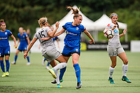 Seattle, WA - Sunday, August 13, 2017: Jaelene Hinkle , Lindsay Elston during a regular season National Women's Soccer League (NWSL) match between the Seattle Reign FC and the North Carolina Courage at Memorial Stadium.