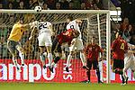 04 June 2008: Goalkeeper Iker Casillas (ESP) (left) punches the ball away from Oguchi Onyewu (USA) (22) and Clint Dempsey (USA) (8). The Spain Men's National Team defeated the United States Men's National Team 1-0 at Estadio Municipal El Sardinero in Santander, Spain in an international friendly soccer match.