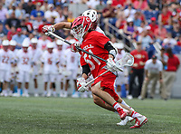 Annapolis, MD - May 20, 2018: Cornell Big Red a Jeff Teat (51) has the ball knocked out by Maryland Terrapins Bryce Young (41) during the quarterfinal game between Maryland vs Cornell at  Navy-Marine Corps Memorial Stadium in Annapolis, MD.   (Photo by Elliott Brown/Media Images International)