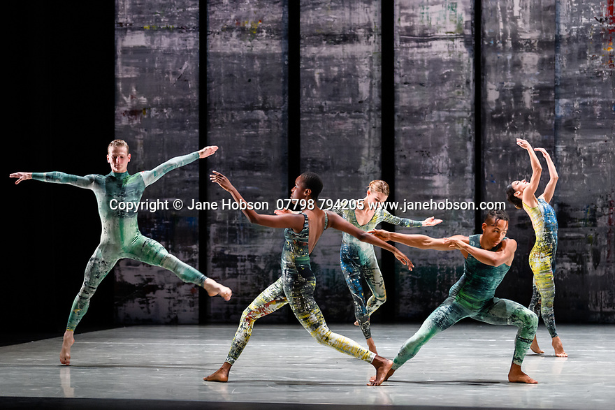 London, UK. 07.11.2019. Rambert presents RAMBERT EVENT, by Merce Cunningham, at Sadler's Wells. Choreography by Merce Cunningham, staging by Jeannie Steele, Music by Philip Selway, Quinta and Adem Ilhan, designs inspired by Gerhard Richter's 'Cage' series, performed by Rambert. The dancers are: Alex Souillere, Kym Sojourna, Hannah Rudd, Jacob Wye, Nancy Nerantzi. Photograph © Jane Hobson.