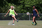 CARY, NC - MAY 04: Courtney Niemiec (17) and Rosana (right). The North Carolina Courage held a training session on May 4, 2017, at WakeMed Soccer Park Field 6 in Cary, NC.