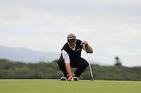 Darren Clarke (NIR) lines up his putt on the 10th green during Day 1 Thursday of The Irish Open presented by Discover Ireland at Killarney Golf & Fishing Club on 28th July 2011 (Photo Jenny Matthews/www.golffile.ie)