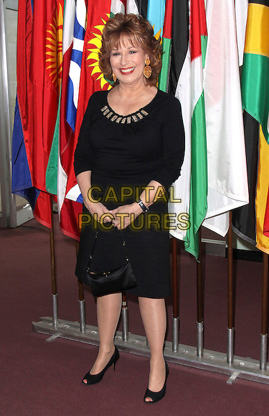 """JOY BEHAR .""""Welcome To Gulu"""" Exhibition Opening and Benefit Art Sale Anti-Human Trafficking Initiative held at the United Nations, New York, NY, USA, .12th May 2009..full length black dress open peep toe shoes bag handbag .CAP/ADM/PZ.©Paul Zimmerman/Admedia/Capital Pictures"""