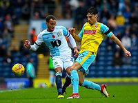 Blackburn Rovers' Elliott Bennett vies for possession with Rotherham United's Joe Newell<br /> <br /> Photographer Alex Dodd/CameraSport<br /> <br /> The EFL Sky Bet Championship - Blackburn Rovers v Rotherham United - Saturday 10th November 2018 - Ewood Park - Blackburn<br /> <br /> World Copyright &copy; 2018 CameraSport. All rights reserved. 43 Linden Ave. Countesthorpe. Leicester. England. LE8 5PG - Tel: +44 (0) 116 277 4147 - admin@camerasport.com - www.camerasport.com
