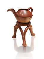 Terra cotta Hittite beaker shaped side spouted teapot and three legged stand - 1700 BC to 1500BC - Kültepe Kanesh - Museum of Anatolian Civilisations, Ankara, Turkey. Against a white background
