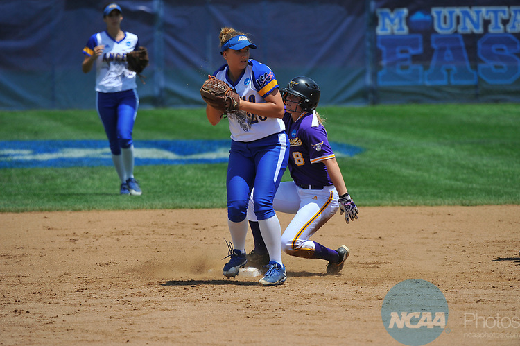SALEM, VA - MAY 29:  Caitlin Stone (8) of Minnesota State University slides safely into second past Amanda Ramage (25) of Angelo State University during the Division II Women's Softball Championship held at Moyer Park on May 29, 2017 in Salem, Virginia. Minnesota State defeated Angelo State 5-1 to win the national championship. (Photo by Andres Alonso/NCAA Photos via Getty Images)