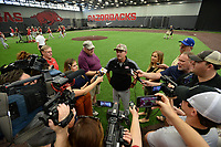 NWA Democrat-Gazette/ANDY SHUPE<br /> Arkansas coach Dave Van Horn speaks to the media Friday, June 7, 2019, during practice in The Fowler Family Baseball and Track Training Center ahead of today's NCAA Super Regional game at Baum-Walker Stadium in Fayetteville. Visit nwadg.com/photos to see more photographs from the practices.