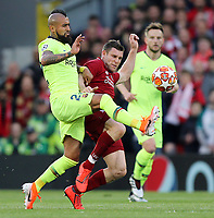 Barcelona's Arturo Vidal vies for possession with Liverpool's James Milner<br /> <br /> Photographer Rich Linley/CameraSport<br /> <br /> UEFA Champions League Semi-Final 2nd Leg - Liverpool v Barcelona - Tuesday May 7th 2019 - Anfield - Liverpool<br />  <br /> World Copyright &copy; 2018 CameraSport. All rights reserved. 43 Linden Ave. Countesthorpe. Leicester. England. LE8 5PG - Tel: +44 (0) 116 277 4147 - admin@camerasport.com - www.camerasport.com