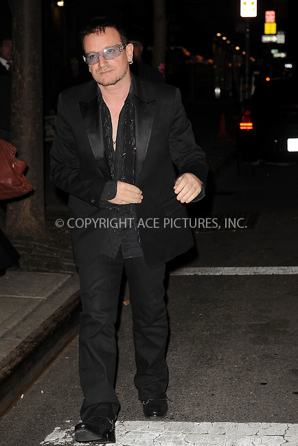 WWW.ACEPIXS.COM . . . . . ....December 8 2009, New York City....Singer Bono arriving at the launch of VEVO, a new music and video website, at Skylight Studio on December 8, 2009 in New York City.....Please byline: KRISTIN CALLAHAN - ACEPIXS.COM.. . . . . . ..Ace Pictures, Inc:  ..tel: (212) 243 8787 or (646) 769 0430..e-mail: info@acepixs.com..web: http://www.acepixs.com