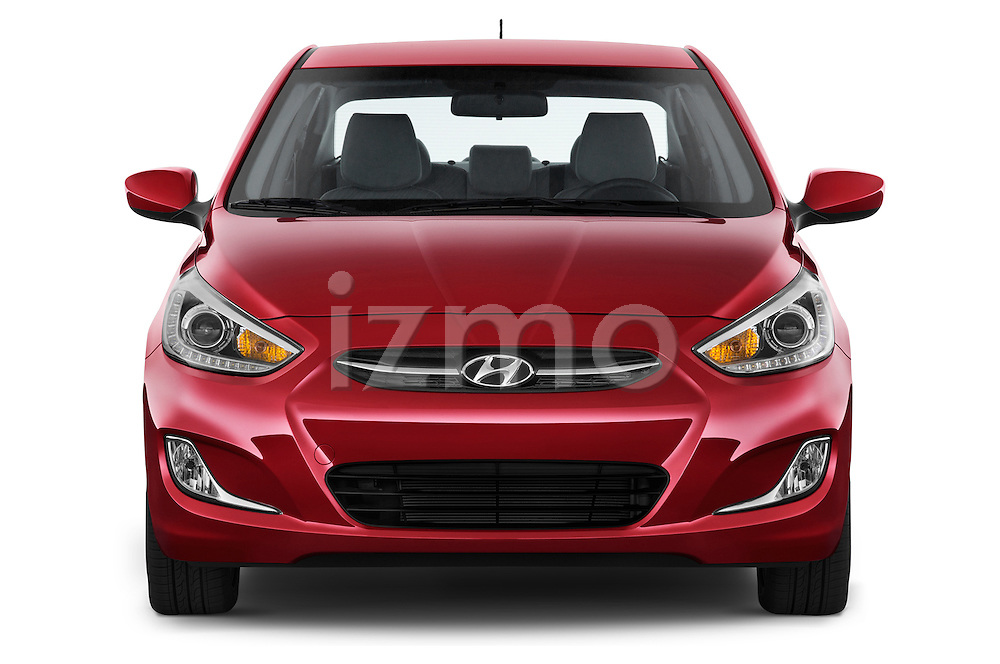 Car photography straight front view of a 2015 Hyundai Accent GLS 4-Door 6-Speed Automatic 2 Door Sedan Front View